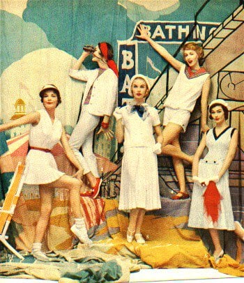 A 1957 Fashion Spread Featuring Styles from the 1930s (including t-strap shoes and cloche hats)
