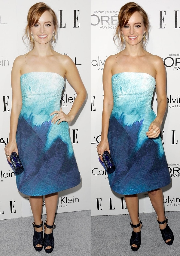 Ahna O'Reilly in a blue watercolor strapless dress at ELLE's 20th Annual Women in Hollywood Celebration