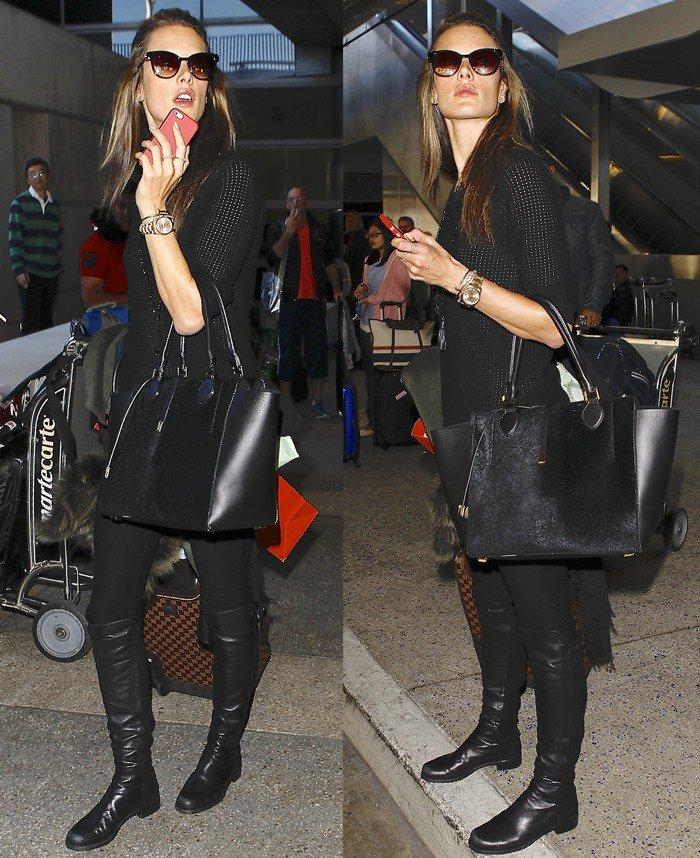 Alessandra Ambrosio wears an all-black ensemble as she arrives back in the United States from Paris