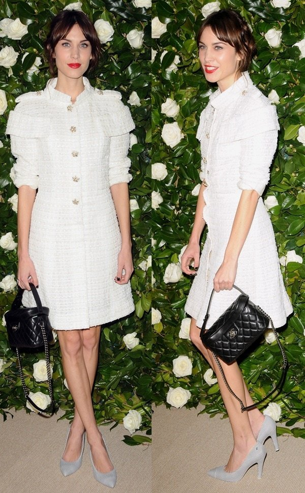Alexa Chung's Chanel dress with statement shoulders and floral buttons