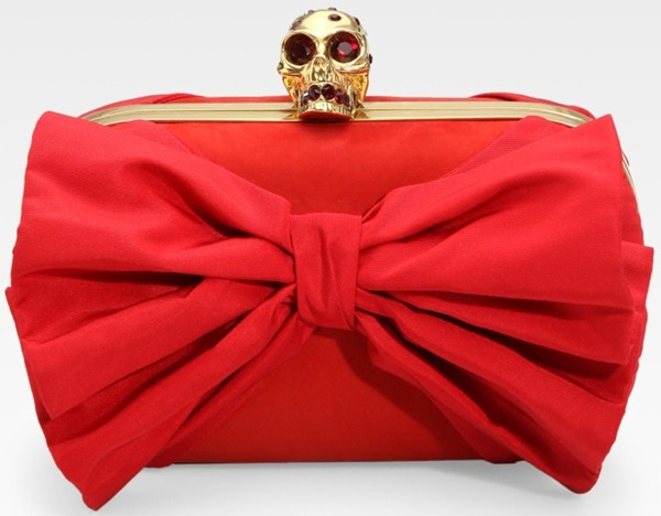 Alexander McQueen Red Classic Skull Clutch with Bow