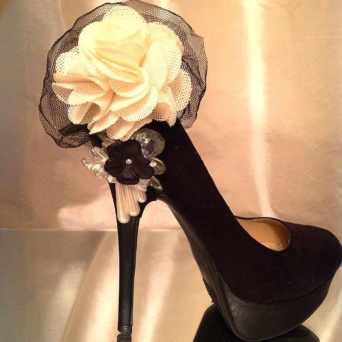 Ivory Flower and Black Tulle Shoe Clips