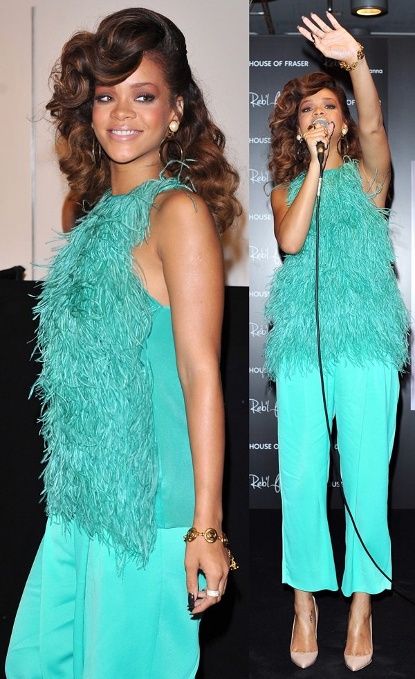 Rihanna wearing a dress by Antonio Berardi to promote her new fragrance Reb'l Fleur at the 'House of Fraser' store in central London on August 19, 2011