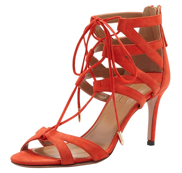 Aquazzura Beverly Hills Sandals Blood Orange Suede