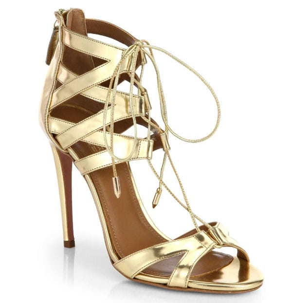 Aquazzura Beverly Hills Sandals Gold Leather