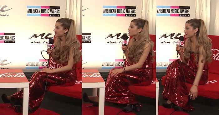 "Ariana Grande wearing 6-inch-high Sergio Rossi ""Cachet"" pumps"