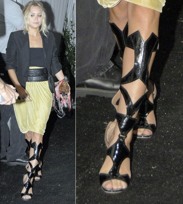 Ashley Olsen wearing Azzedine Alaia knee-high gladiator boots at Hampton Social at Ross with concert by James Taylor in New York City on August 11, 2007