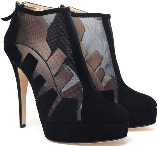 Bionda Castana 'Belen' Cut-Out Suede and Mesh Shoe Boots