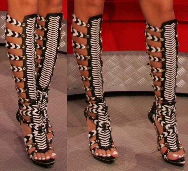 Rihanna in $2000 Balenciaga gladiator heels at a taping of BET's 106 and Park in New York City on June 18, 2008