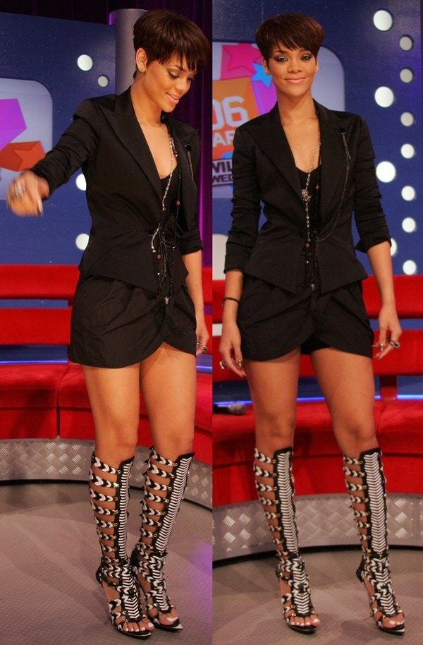 Rihanna let her Balenciaga gladiator sandals do the talking by pairing them with with an all-black short suit