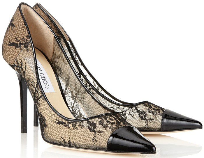 "Jimmy Choo ""Amika"" Lace and Patent Leather Pump"