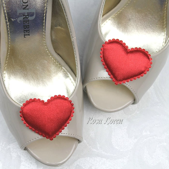 Puffy Red Satin Heart Shoe Clips