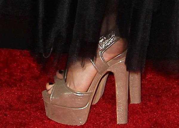 Isabelle Fuhrman's feet in Brian Atwood sandals