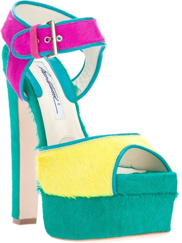 Brian Atwood Karin Multicolored Pony Fur Sandals