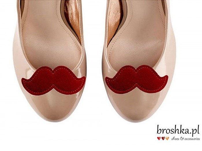 Felt Mustache Shoe Clips