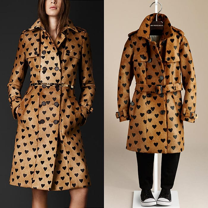 Burberry heart print trench coats
