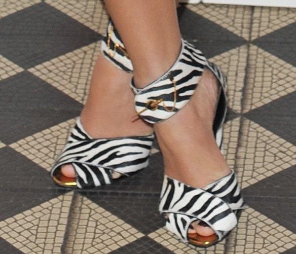 Caroline Flack's hot feet in zebra-print Tom Ford sandals