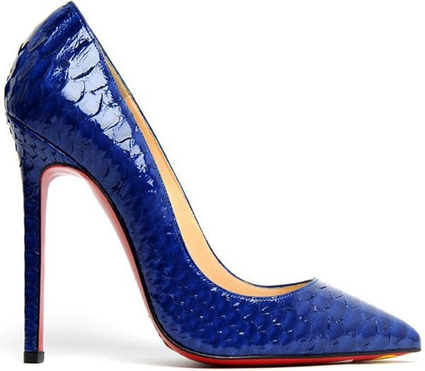 """Christian Louboutin """"Pigalle"""" Python Pump in Neptune"""