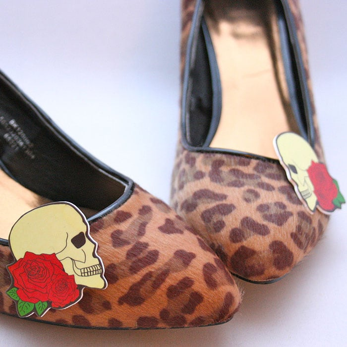 Skull and Rose Shoe Clips