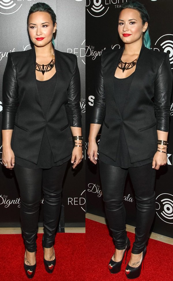 Demi Lovato wearing a Rag & Bone 'Timeless' blazer and Theory 'Belisa' leather pants