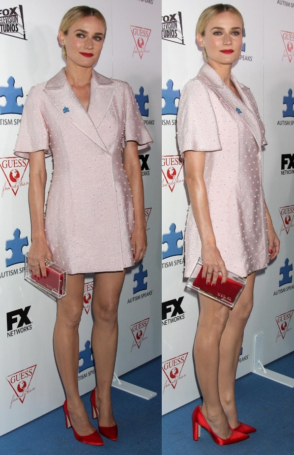 Diane Kruger in a pale pink tuxedo dress at Autism Speaks' 3rd Annual Blue Jean Ball