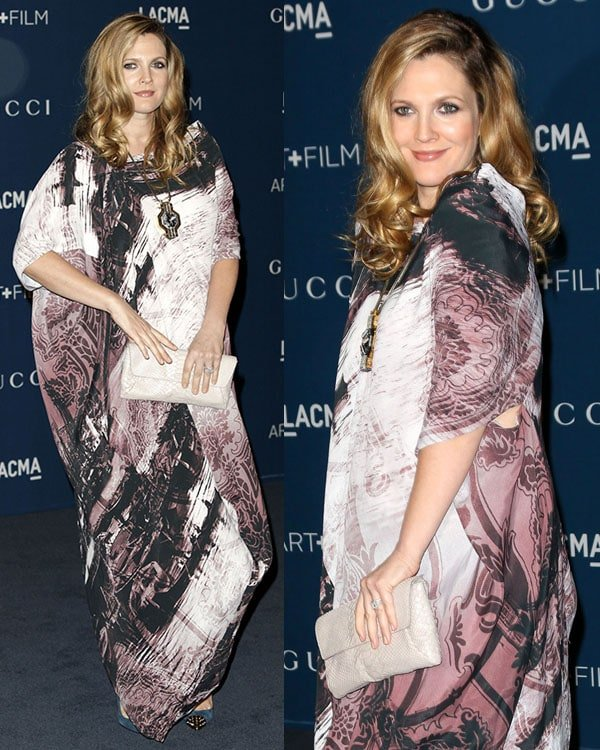 Drew Barrymore wore an unflattering Vivienne Westwood Anglomania 'Twisted Puusti' dress