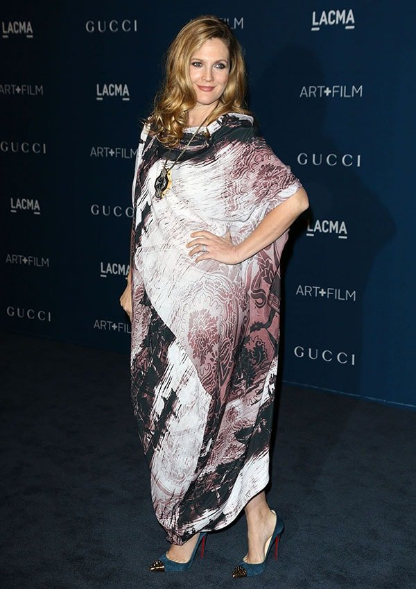 Drew Barrymore's boldly printed crepe dress can be worn back to front