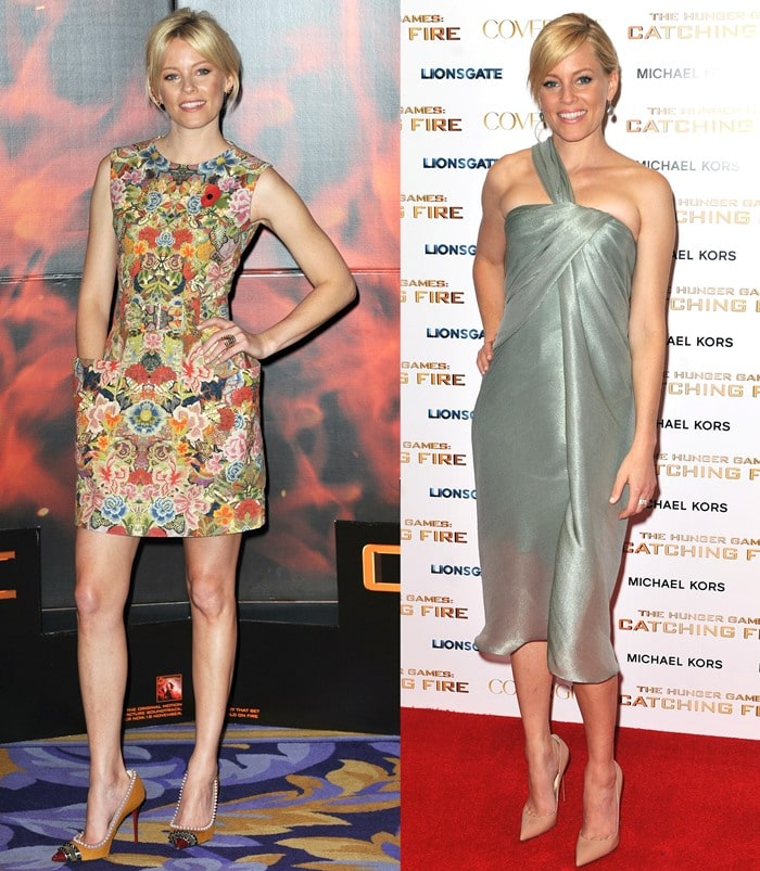 "Elizabeth Banks wears two pairs of Louboutins at ""The Hunger Games: Catching Fire"" photocall and premiere after-party"