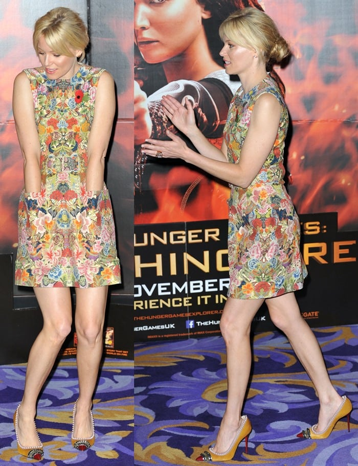 Elizabeth Banks flaunts her sexy legs at The Hunger Games: Catching Fire photocall