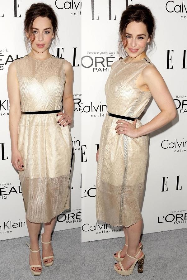 Emilia Clarkein a strapless mini dressat ELLE's 20th Annual Women in Hollywood Celebration