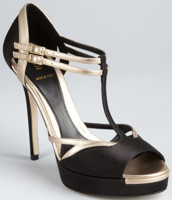 Fendi Black-and-Champagne Silk-and-Leather Strappy Platform Sandal