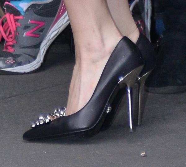 Lady Gaga's black jeweled pumps