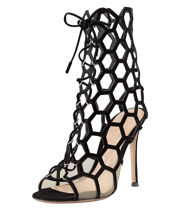Gianvito Rossi Lace-Up Honeycomb Booties