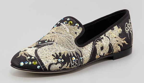 Giuseppe Zanotti Embroidered Crystal Dragon Loafers