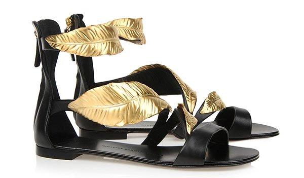 Giuseppe Zanotti Flat Sandals Gold Leaves
