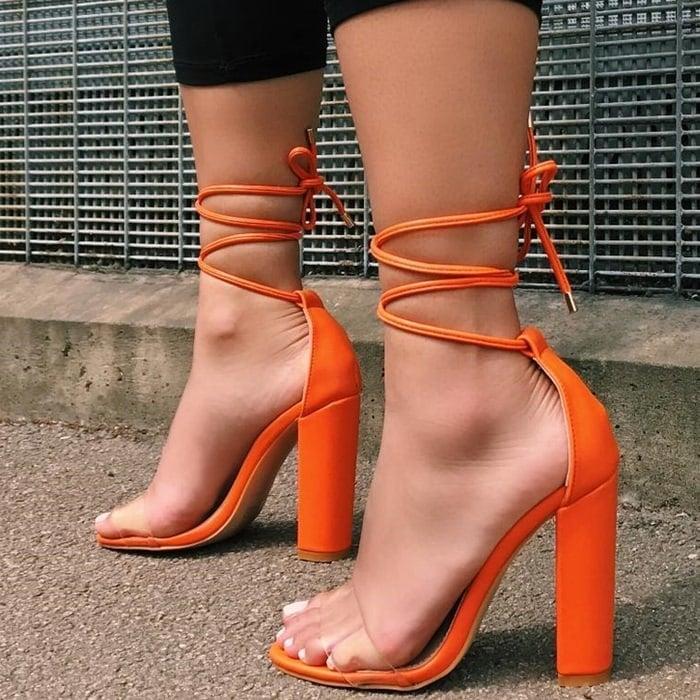 Orange Harley Clear Lace Up Block Heels