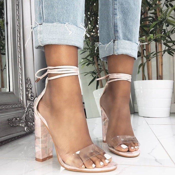 Harley Clear Lace Up Block Heels