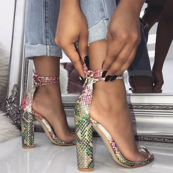 Snake Harley Clear Lace Up Block Heels