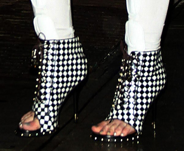 Iggy Azalea wearing Givenchy checkered booties