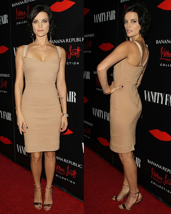 Jaimie Alexander wears a stretch knit dress on the red carpet of the Banana Republic L'Wren Scott Collection launch
