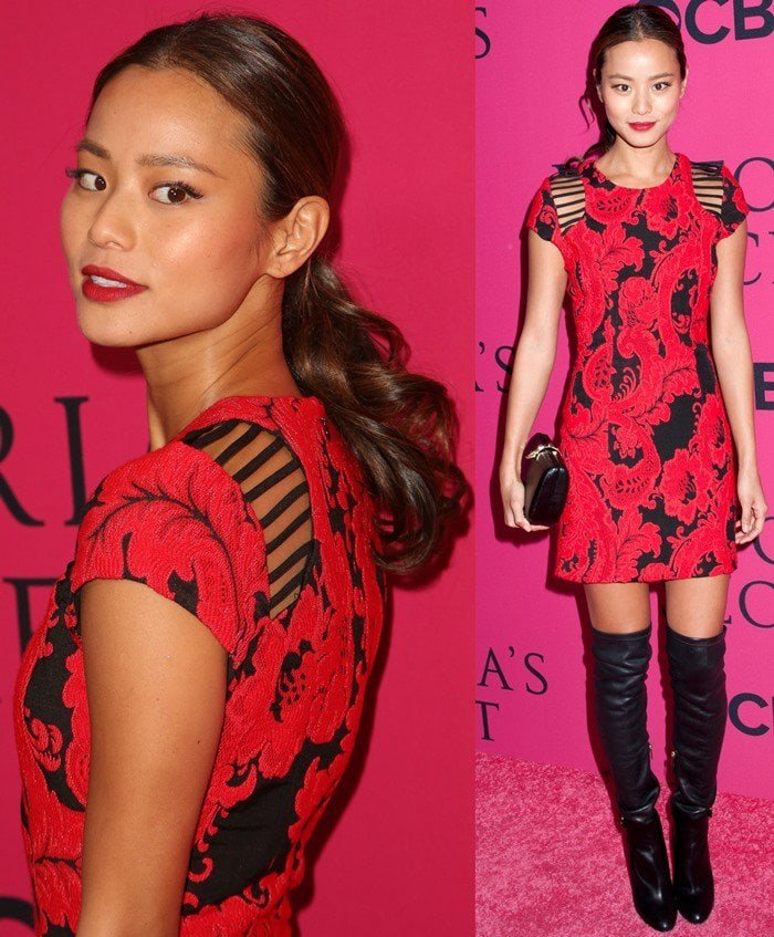 Jamie Chungin a brocade red-and-black sheath dress by Parker