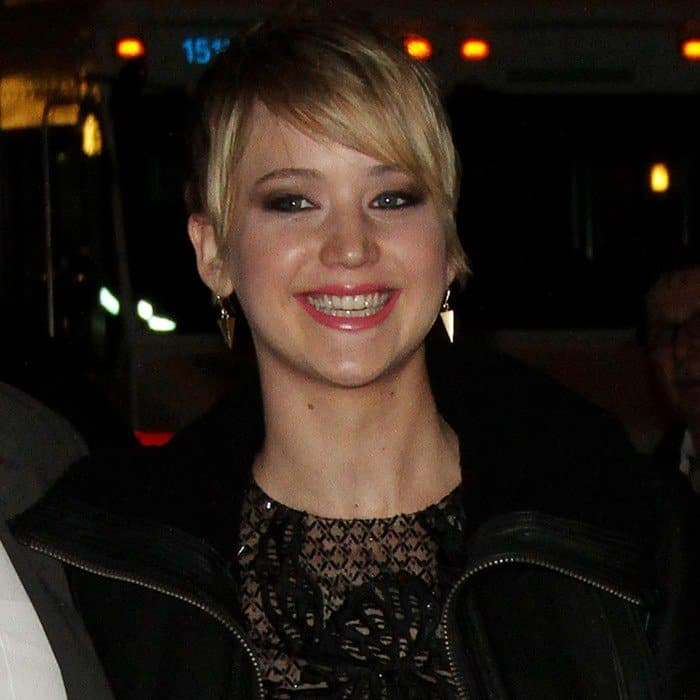 Jennifer Lawrence arrives at the Ed Sullivan Theater for her appearance on 'Late Show with David Letterman' on November 20, 2013