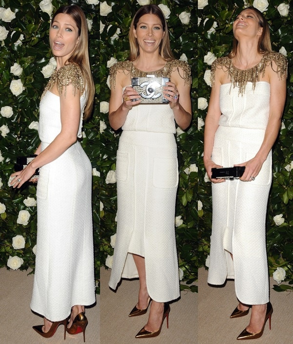 Jessica Biel's white strapless Chanel dress featuring a metal chain neck-and-shoulder piece
