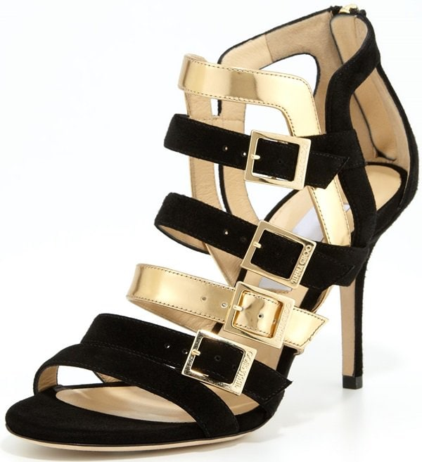 """Jimmy Choo """"Bubble"""" Strappy Suede/Metallic Sandals"""