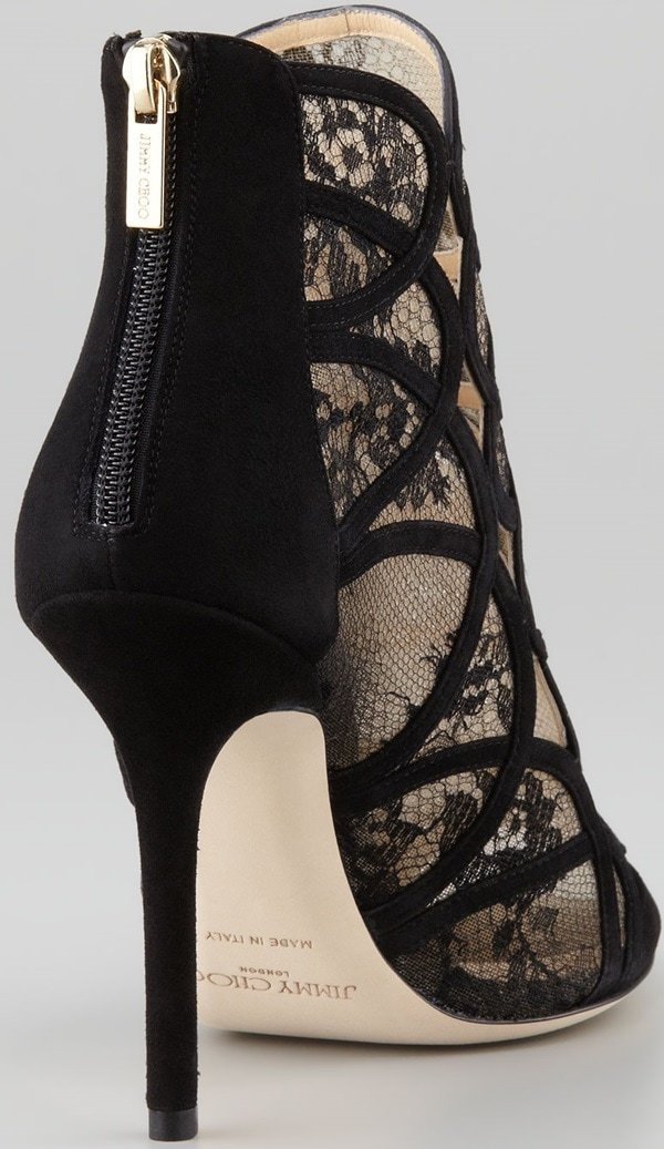 Jimmy Choo Fauna Lace-Suede Cage Sandal Back