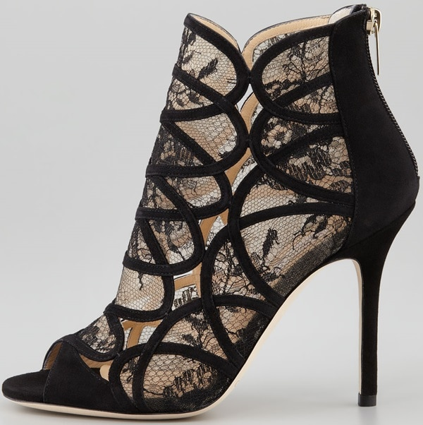 Jimmy Choo Fauna Lace-Suede Cage Sandal Side