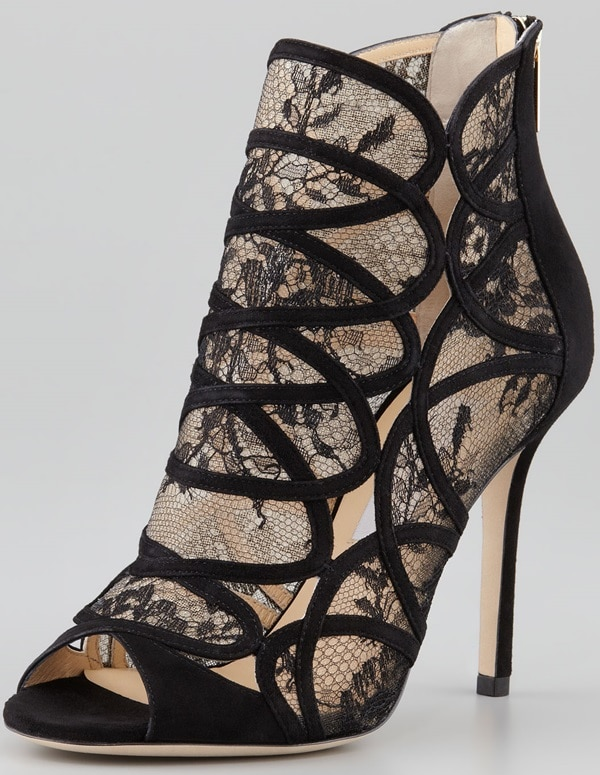 Jimmy Choo Fauna Lace-Suede Cage Sandal