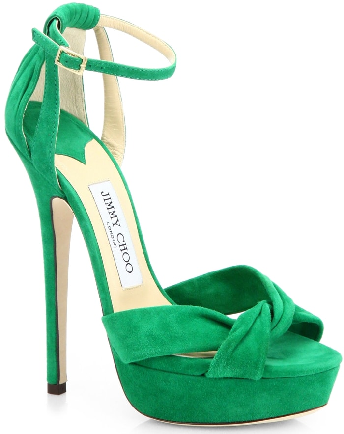 Jimmy Choo Greta Sandals in Emerald Suede