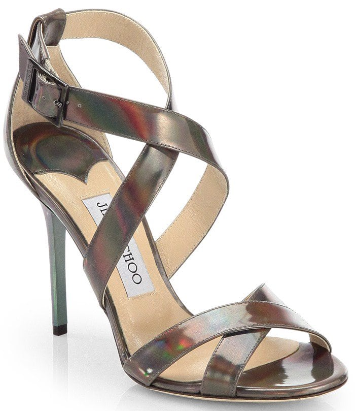 Jimmy Choo Silver Lottie Patent Leather Disco Hologram Sandals