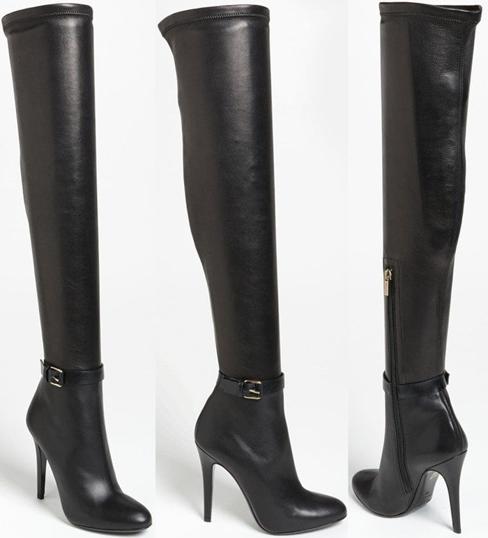 Indulgent stretch leather elevates a timeless over-the-knee boot with a smooth, svelte silhouette